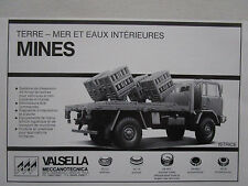 5/85 PUB VALSELLA MECCANOTECNICA MINE ISTRICE CAMION FIAT IVECO 4X4 FRENCH AD