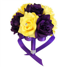 "8"" Wedding Bouquet - Purple and Yellow Artificial Roses: Bridesmaids, Toss, etc."