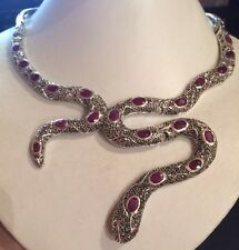 """41.80CT NATURAL RED  RUBY  & MARCASITE  925 SILVER SERPENT NECKLACE 17-22"""""""
