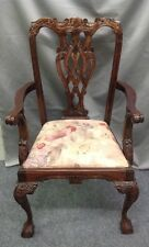 Early Chippendale Style Arm Chair with carved knuckle arms, leaf carve... Lot 95