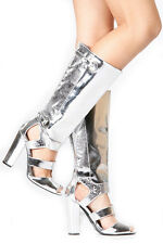 New silver Knee High Heel peep toe strappy gladiator cutout Sandals boots Sz 7.5