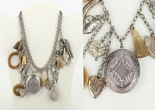 VTG 80s ADOLF SILVER 3 CHAIN CHUNKY CHARMS LOCKET HORN PERFUME PENDANT NECKLACE