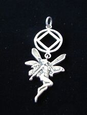 Sterling Silver Narcotics Anonymous NA Symbol Fairy Pendant Recovery 823