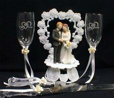IVORY  Wedding Gift LOT Heart to Heart Cake Topper Toasting Glasses Server set