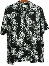 NWT Mens Silk Hawaiian Camp Shirt Aloha Black & White Floral Beach New XXL 2XL