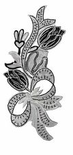 #4077 Black/Grey/White Tulip Bouquet Bow Embroidery Iron On Applique Patch
