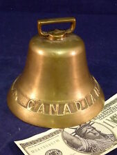 "Antique Canadian Beaver Brass Bell Large 4"" tall 1800s Montreal Cow Ship Vintage"
