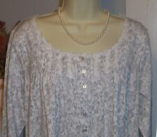 NWT M Medium Eileen West Gray Paisley Nightgown NEW Dreamtime Gown 100% Cotton