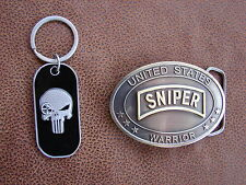 U.S .SNIPER PUNISHER KEY RING and SPECIAL FORCES  - Brass Plated Belt Buckle