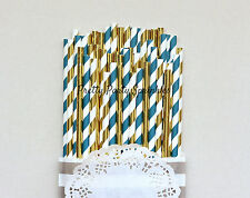 75 Navy and Gold Foil Paper Straws, First Birthday Decorations, Fall Table Decor
