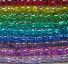 8mm Crackle Glass Beads (50) Mixed Colors