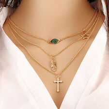 New Women Accessories Sweater Chain Multilayer Metal Clavicle Necklace Gift Hot