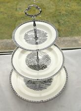Wedgwood England Lugano Pattern Black on Cream  Three Tier Cake Stand