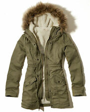 Hollister by Abercrombie Womens Twill Parka Jacket Sherpa Coat Olive Medium New