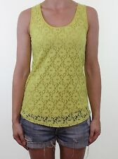 OASIS lime green floral lace cut out back vest top size XS 6 - 8