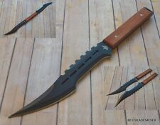 FANTASY MASTER FIXED BLADE SWORD HUNTING KNIFE WOOD HANDLE WITH HARNESS SHEATH