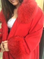 Gorgeous Red Swing Coat Real Fox Fur Fur liner One of a Kind sz M-L