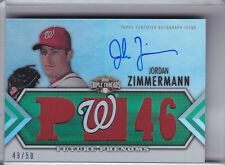 2012 TRIPLE THREADS #127 JORDAN ZIMMERMAN AUTOGRAPH JERSEY NATIONALS 49/50 9023