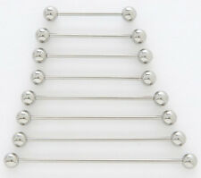 "5) 14g Steel 2.00"" Industrial Barbells 5mm Ball 2"" 51mm Long Bar Piercing Lot"