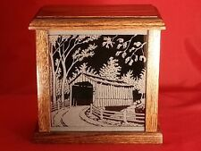 Covered Bridge Light Etched Glass Front Panel w/ Solid Oak Wood Box Accent Piece