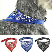 Pets Dog Puppy Cat Adjustable Neck Scarf Bandana With Leather Collar Neckerchief