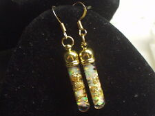 AUSTRALIAN FIRE OPALS 14K GOLD FLAKES  FLOATING OPAL EARRINGS