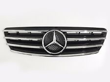 4 Fence Front Hood Sport Black Grill Grille For Mercedes C Class W203 4Dr 01-07