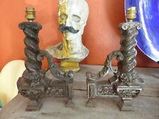 Superbe paire Lampes chenets cheminée Fonte déco de charme 31cm Fireplace