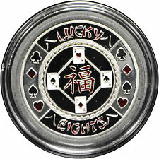 Casino Poker Card Guard Cover Protector LUCKY EIGHTS silver color