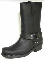 JOHNNY BULLS WESTERN MEN'S COWBOY / BIKER STYLE LEATHER  BOOTS 4829 Black