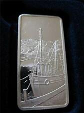 1-OZ.999  SILVER AMERICA THE BEAUTIFUL HAMILTON MINT SEA PORT PROOF BAR + GOLD