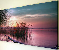 "SUNSET LAKE SCENE WALL ART CANVAS PICTURE  LARGE 18"" X 32"""