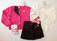 NWT Gymboree Cupcake Cutie 5 5T Pink Sweater Corduroy Skirt Dot Blouse & Tights