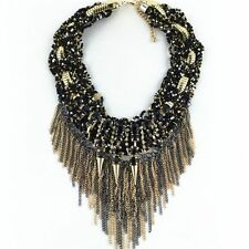 NEW ZARA BEAUTIFUL GOLD BLACK TASSELS NECKLACE - NEW