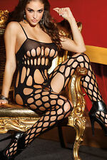 Black Sleeveless Cutout Bodystocking Pole Dancer Stripper Lingerie Size UK 10-12