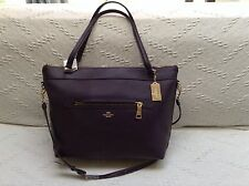 NWT. COACH PEBBLE LEATHER TYLER TOTE BAG HANDBAG SHOULDER BAG AUBERGINE F54687