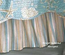 NATURAL SHELLS Queen BEDSKIRT : AQUA STRIPED BEACH DUST RUFFLE BED SKIRT