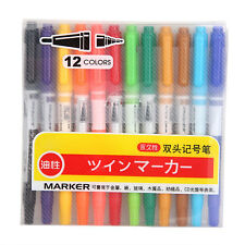 12 x Colors Double End Paint Sketch Markers Highlighting Pen Office Stationery