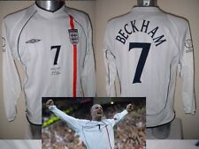 England David Beckham Shirt Jersey Football Soccer Adult XL LS PSG Man Utd 2002