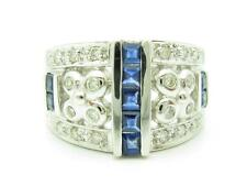 14KT WHITE GOLD GENUINE WHITE DIAMOND PAVE WIDE BAND BLUE SAPPHIRE VINTAGE RING