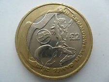 £2 BIMETALLIC UK COIN TWO POUNDS 2002 COMMONWEALTH GAMES MANCHESTER ENGLAND FLAG