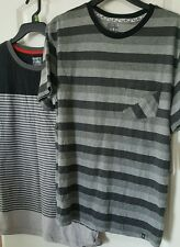 Young Men's 2 Shirts Tee Adam Levine Striped Grey Black Trendy L Large NWT New