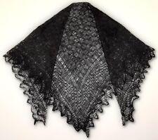 BLACK 50x50 RUSSIAN ORENBURG WOOL SHAWL