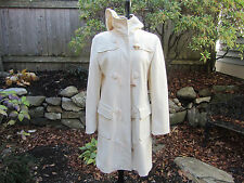 United Colors of Benetton Winter White HOODED Duffle Toggle Button Wool Coat L