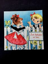 Vintage Birthday Greeting Card 2 Little Girl Friends at a White Picket Gate