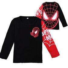 Kids Boys Spiderman Superhero Casual T-Shirt Long Sleeve Marvel Costume Tops Tee