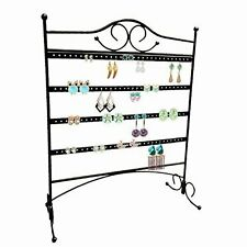 HUJI Black Jewelry Organizer Rack Earring Holder Necklace Bracelet Stand Display