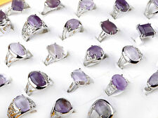 10pcs Wholesale Bulk Amethyst Gemstone Stone Rings Silver Plated Ring Jewelry