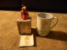 Precious Moments KELLY  Cup/Mug 1989 & Arabella Bear With Red Rose Figurine