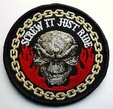 SCREW IT JUST RIDE SKULL - SEW ON BIKER MOTORCYCLE PATCH 84mm by 84mm